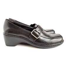 Clarks Leather Slip On Shoes Womens 6M Monks Strap Black
