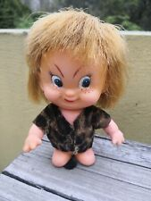 "VTG RARE RUBBER CAVEMAN 5"" DOLL MAD FUNNY FACE DARK BLONDE HAIR CLONE"