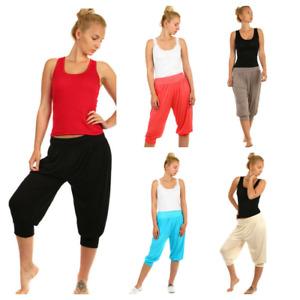 Ladies Womens 3/4 Capri Harem Trousers Baggy Cropped Hareem Leggings Pants S-3X