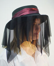 Steampunk-Vastra-Gothic-Whitby-Victorian-Ladies HAT, DEEP RED HAT BAND & DRAPE