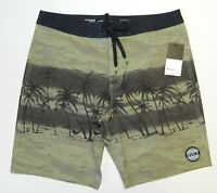 RVCA Men's Dead Man's Bay Board Short Green Black Regular Fit Trunk Size 34 New