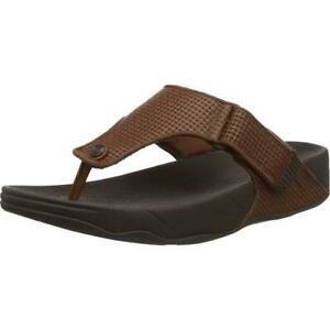 FitFlop Trakk II Mens Brown Flip Flop Toe Post Adjustable Sandal Size 8-12