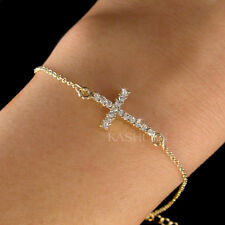 ~Danity Sideways Cross made with Swarovski Crystal Religious Gold Chain Bracelet