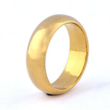 Cool Yellow Gold Filled Womens Mens Boys Smooth Wedding Band Punk Ring Size 6