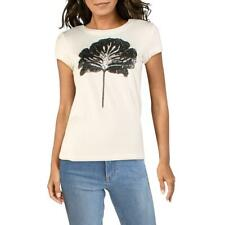 Gracia Womens B/W Sequined Cotton Blend Tee T-Shirt Top L BHFO 5759