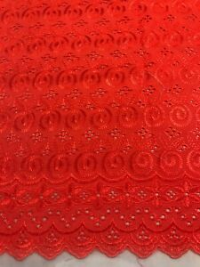 """Red cotton eyelet Embroidery fabric 44"""" Width 4 Yard"""