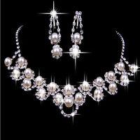 Strass Kristall Perle Halskette Ohrring Schmuck Set Für Hochzeit Braut Deko