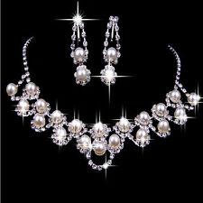 Strass Kristall Perle Halskette Ohrring  Schmuck Set Für Hochzeit