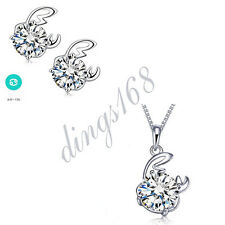 3pc 925 Sterling Silver Cancer Zodiac Sign Crystal Pendant + Earrings Set S140