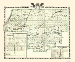 Woodford County Illinois  - Warner 1870 - 23.00 x 27.47