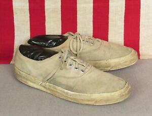 Vintage 1970s Converse White Canvas Tennis Shoes Sneakers Sz 11.5 Blue Label USA