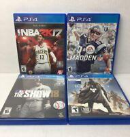 Lot Of 4 PS4 Madden NFL 17 NBA 2K17 MBL Show 18 Destiny Games PlayStation 4 GUC