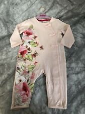 TED BAKER BABY GIRL ROMPER 3-6 MONTHS  BOWS  STUNNING PEONY EX COND
