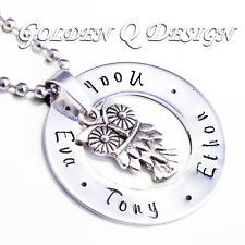 Personalised Hand Stamped Name Night Owl Necklace Christmas Gift For Her D180