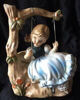 "Vintage Napcoware 'Girl On Swing In Tree' Planter Made In Japan 6.5"" EUC"
