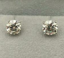 DIAMOND STUD EARRINGS SOLITAIRE ROUND 2 CARAT F SI1 EX 14 K WHITE GOLD CERTIFIED