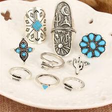 9PCS/Set Silver Punk Vintage Ring Womens Retro Geometry Finger Rings Boho Style