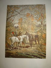 GRANDE LITHO XX° CHASSE A COURRE VÉNERIE CHEVAUX CHASSEUR HORSE RIPART AtFORET