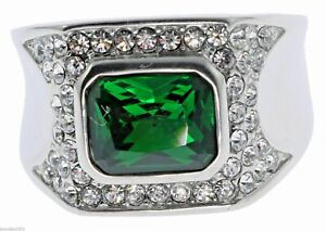 6 Carat Emerald Simulated Cz Accent White Gold Overlay Men's Ring Size 8 T28