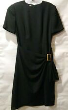 Papell Boutique Dress Draped Faux half Wrap skirt Sz 4 buckle SS Vtg lined zip