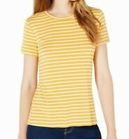 Maison Jules Women's Top Yellow Size Medium M Knit Striped Crew T-Shirt $39 #730