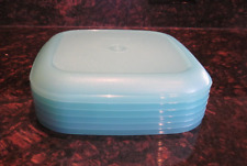 "Tupperware 6 Luncheon Plates Set Square 8""/20cm Tropical Water Aqua Blue New"