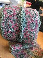 Green and cerise stretch lace trim - 13cm wide