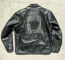 Harley Davidson ROCKHOUND Black Leather Jacket Willie G Skull Men's Large