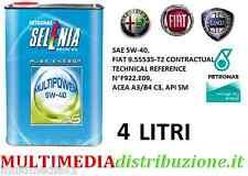 4 LITRI OLIO MOTORE SELENIA WR 5W40 MULTIPOWER GAS - SPECIFICO FIAT LANCIA ALFA