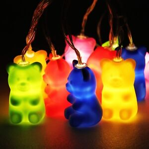 Jelly Bear String Lights - gummy, squidgy, soft, LED, battery operated, teddy be
