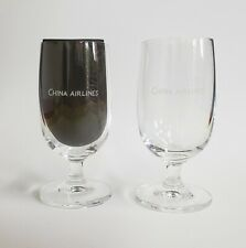Vintage China Airlines 3 oz Stemed Wine Glass, Pair.  Beverage, Cocktail, Water.