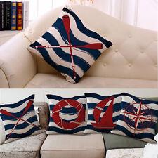 Vintage Cotton Linen Square Pillow Case Marine Nautical DecorativeCushion Cover