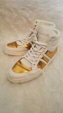 Gucci Men's Gold White Padded Leather High top Sneakers 11 Italy designer shoes