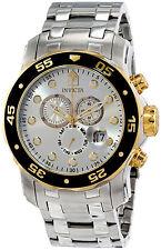 Invicta Gold Silver Hombre Reloj Steel Crystal Man Watch Bracelet Hand Pulsera