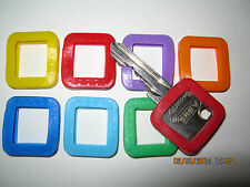 8 x Schlüsselkennringe    rechteckig    f. Schlüssel  verschiedene Farben