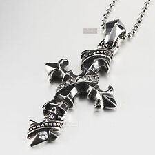 silver cross pendant skull Fleur-De-Lis stainless steel chain crystal necklace
