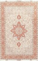 New Signed Wool & Silk Floral Oriental Area Rug Hand-Knotted 7x10 Ivory Carpet