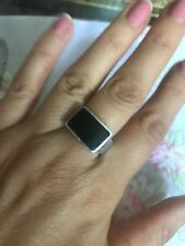 Antique Vintage Sterling Silver Black Enamel Ring