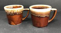 Set Of 2 Vintage Kathy Kale Brown Drip Glaze Coffee Mug Cup Ceramic Pottery