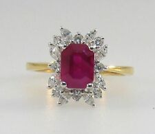 Cluster Ruby Not Enhanced Yellow Gold Fine Rings