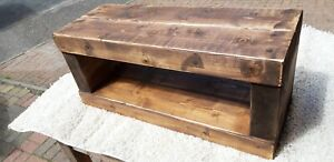TV stand Chunky Rustic Side Table Wooden Sleeper 80cm cabinet lcd plasma coffee