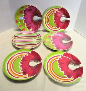 6 Colorful Melamine Appetizer Party Cocktail Plates w Wine Glass Holder Buffet