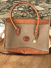 Vintage Dooney and Bourke leather purse taupe (tan) / British tan (brown) trim.