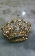 vtg. KJL for Avon Kenneth Jay Lane crystal crown gold  tone Pin brooch