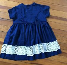 Kate Greenaway Navy Dress Vintage Girl Blue 3 4 3t 4t Lace Ruffle