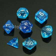 Blue 7 Sided Dice D4 D6 D8 D10 D12 D20 Magic-the-Gathering MTG D&D RPG Poly Game