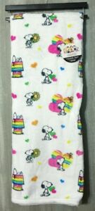 "Berkshire Peanuts Snoopy Rainbow Throw Blanket 50"" x 70"" White Multi Color NEW"