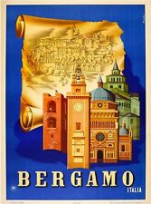 Bergamo Italia Italy Italian Vintage Travel Advertisement Art Poster Print