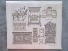 Vintage Print,MOBILIER FRANCAIS,LIT BUFFET,Costume,Historique,1888,Racinet