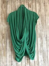 Alice + Olivia Green Scarf Button Infinity Wrap Draped Jersey Knit Top XS RARE*